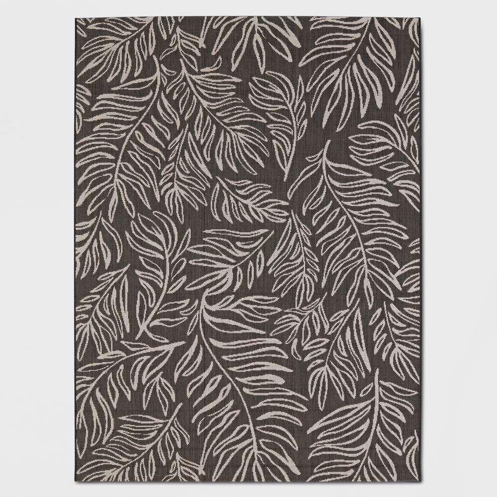 "Image of ""30"""" x 50"""" Leaves Outdoor Rug Black - Project 62, Black White"""