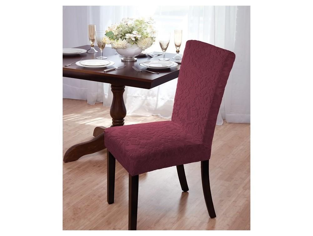 Madsion Burgundy (Red) Velvet Damask Dining Room Chair Co...