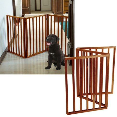 Petmaker Freestanding Wooden Dog And Cat Gate Mahogany