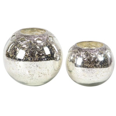 Set of 2 Modern Silver Glass/Iron Candle Holders - Olivia & May