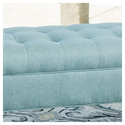 Demi Tufted Fabric Ottoman Bench Blue - Christopher Knight Home : Target