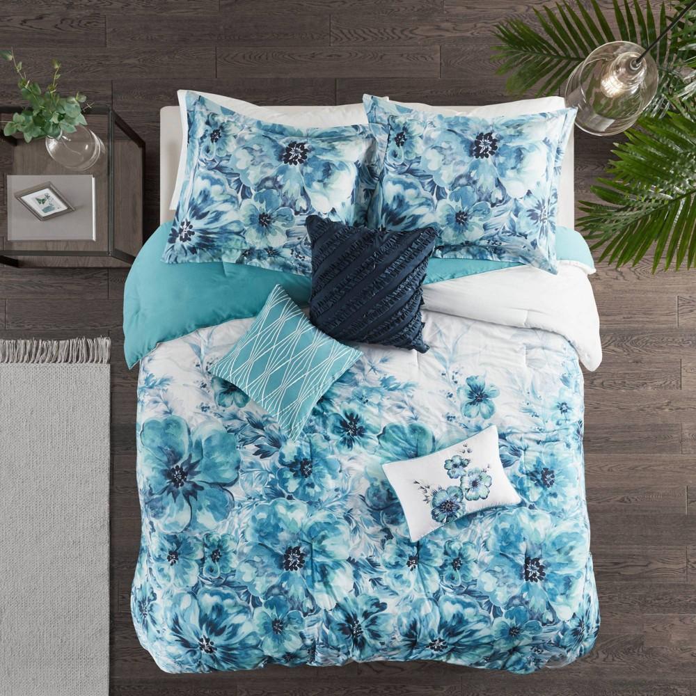7pc King Slade Cotton Printed Comforter Set Teal