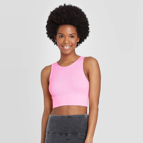 Women's High Neck Bralette - Colsie™ Neon Pink L - image 1 of 3