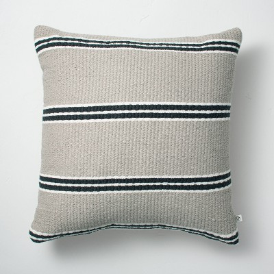 """18"""" x 18"""" Double Stripe Indoor/Outdoor Throw Pillow Black/Gray - Hearth & Hand™ with Magnolia"""