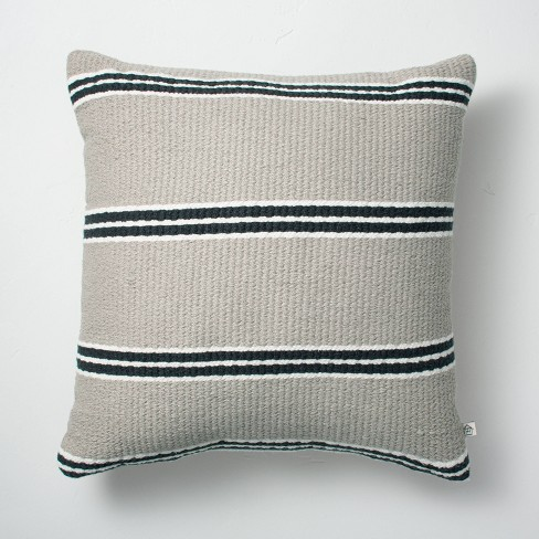"""18"""" x 18"""" Double Stripe Indoor/Outdoor Throw Pillow Black/Gray - Hearth & Hand™ with Magnolia - image 1 of 4"""