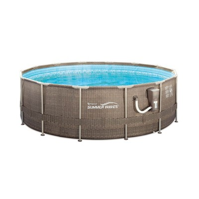 Summer Waves P20014482 14ft x 48in Outdoor Round Frame Above Ground Swimming Pool Set with Skimmer Filter Pump, Filter Cartridge, and Ladder, Brown