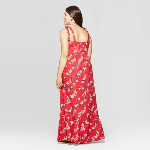 0902e7060e4 Maternity Floral Print Sleeveless V-Neck Button Front Maxi Dress - Isabel  Maternity By Ingrid   Isabel™ Red   Target