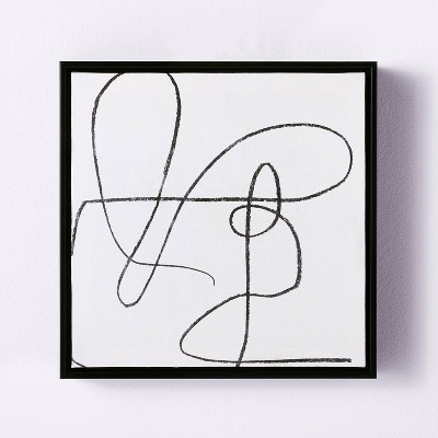 "12"" x 12"" Scribble Framed Wall Canvas Black - Threshold™ designed with Studio McGee"