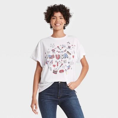 Women's Americana Icons Short Sleeve Graphic T-Shirt - White