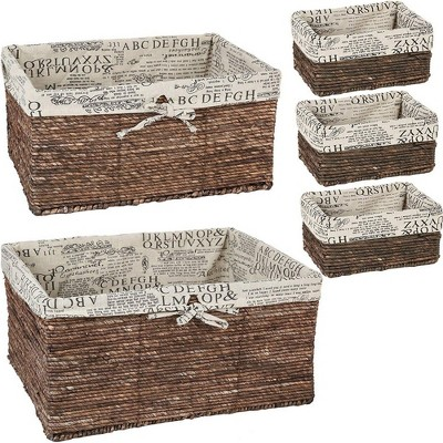 Wicker Basket - 5 Pack Storage Baskets for Shelves with Woven Liner