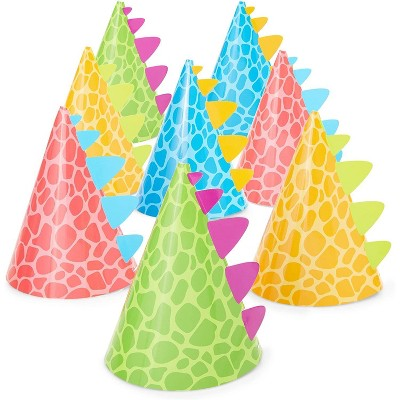 24-Pack Dinosaur Party Cone Hats for Kids Dino T-Rex Theme Birthday Supplies, Baby Shower Decoration