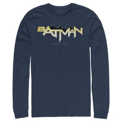 Men's Batman Logo Messy Text Long Sleeve Shirt