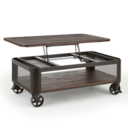 Lift Top Coffee Table.Barrow Lift Top Cocktail Table With Casters Industrial With Iron Base Steve Silver