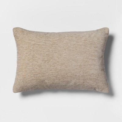 Solid Chenille Lumbar Throw Pillow Neutral - Threshold™