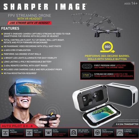 Sharper Image Fpv Vr Quadcopter Drone Dx 144 Model With Live