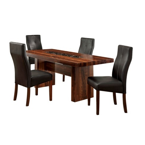 Sun Pine 5pc Faux Marble Top Block Dining Table Set Woodbrown