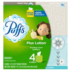 Puffs Plus Mega Facial Tissue - 4pk/72ct