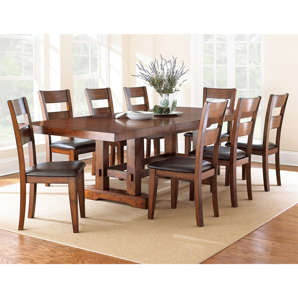 9pc Dion Dining Set Cherry (Red) - Steve Silver