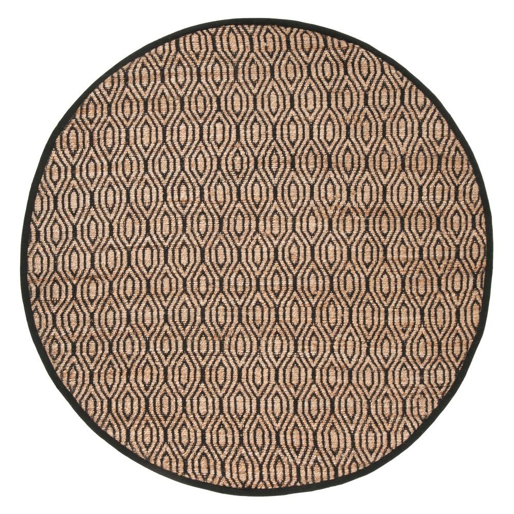 6 Geometric Round Area Rug Black/Natural - Safavieh Cheap