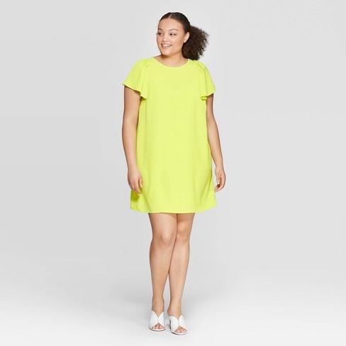 Women\'s Plus Size Puff Short Sleeve Crewneck Shift Dress - Who What Wear™  Yellow