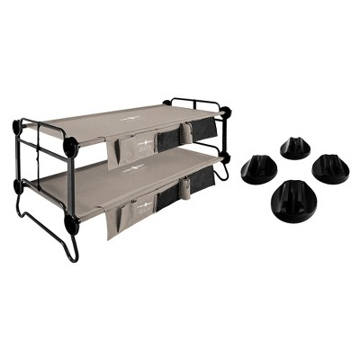 Disc-O-Bed XL Cam-O-Bunk Cot with Organizers and No Slip Foot Pads Set of 4