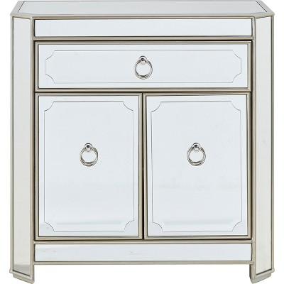 Metallic Mirrored 1 Drawer 2 Door Cabinet Metallic - Treasure Trove