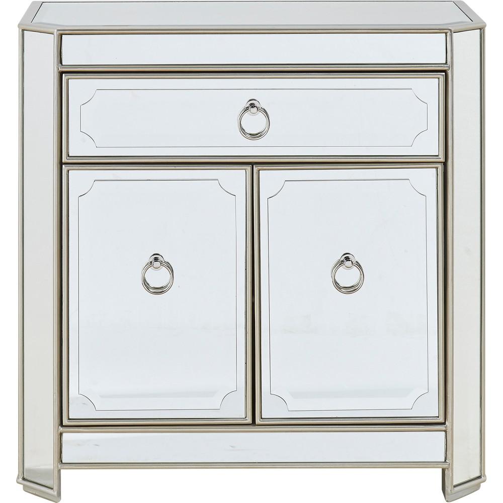 Image of Metallic Mirrored 1 Drawer 2 Door Cabinet Metallic - Treasure Trove