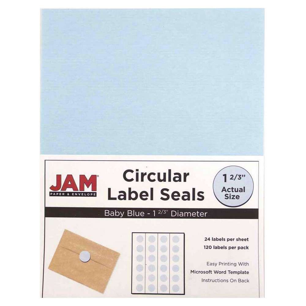 Jam Paper Circle Sticker Seals 1 2/3 120ct - Light Blue Jam Paper Round Circle Label Sticker Seals measure 1 2/3 inches in diameter and are sold on sheets of 24 labels. Each pack contains 5 sheets for a total of 120 labels per pack! These labels feature a light, soft, and inviting baby blue color that will give a peaceful and calm look to your mail. These labels are great for reinforcing envelopes, creating small price tags for yard sales, marking mail or items with initials, and more! Compatible with most printers, these labels can be customized in your own office or home. Additionally, they are easy to write on with most kinds of pens and markers. Try these round labels for your home or office needs. Color: Light Blue. Age Group: Adult.