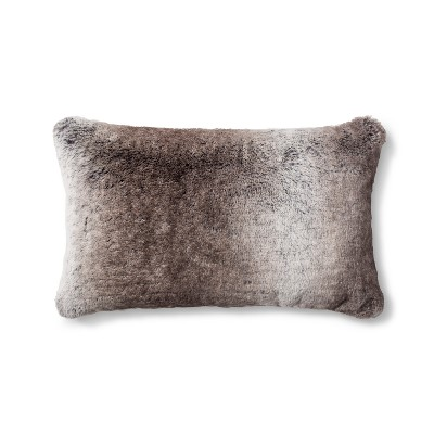 Neutral Faux Fur Lumbar Pillow - Fieldcrest®