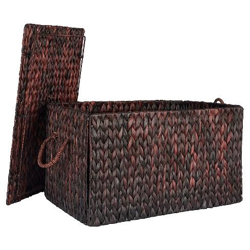 Household Essentials Large Autumn Wicker Storage Trunk Brown Target