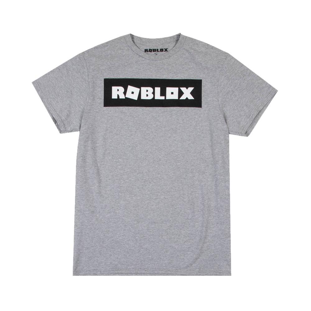 Men 39 S Roblox Logo Short Sleeve T Shirt Gray L