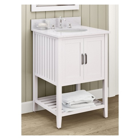 Bennett With White Marble Sink Top And Bath Storage Shelf Vanity Mirror Set Cabinet 25 Alaterre Furniture Target