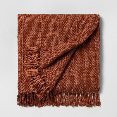 Chunky Stripe Fringe Throw Blanket Rust - Hearth & Hand™ with Magnolia