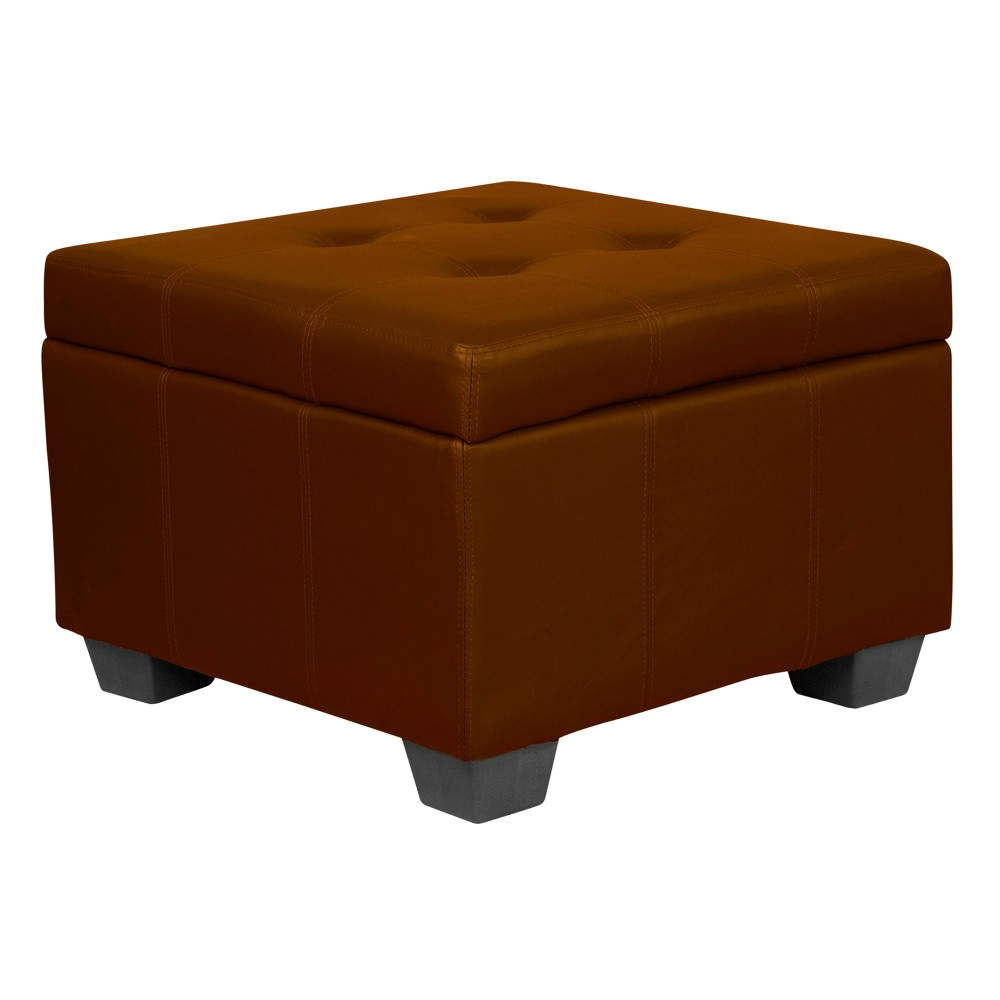 Heirloom Tufted Padded Hinged Ottoman - Leather Look - Epic Furnishings, Brown