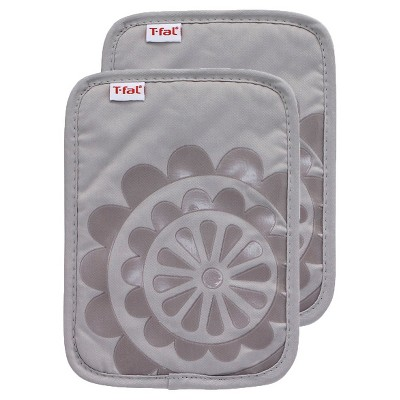 Gray Medallion Silicone Pot Holder 2 Pack (6.75 x9 )T-Fal