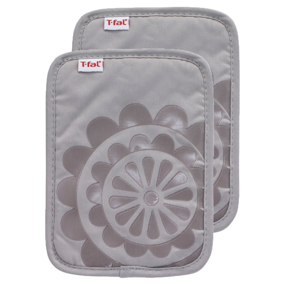 """Image of """"Gray Medallion Silicone Pot Holder 2 Pack (6.75""""""""x9"""""""") T-Fal"""""""