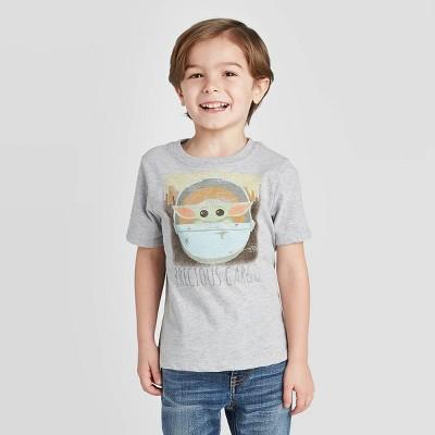 Toddler Boys' Baby Yoda Short Sleeve T-Shirt - Gray