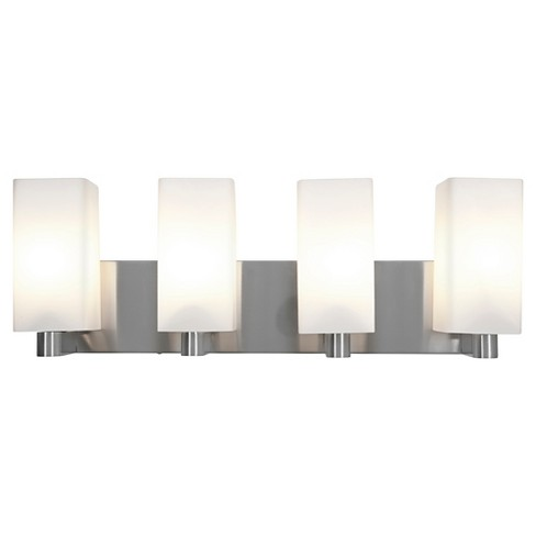 Archi 4-Light Fluorescent Bath Light with Opal Glass Shade- Brushed Steel - image 1 of 2