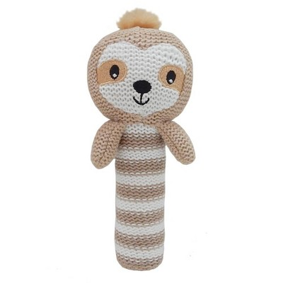 Living Textiles Baby Huggable Knit Rattle - Skylar Sloth