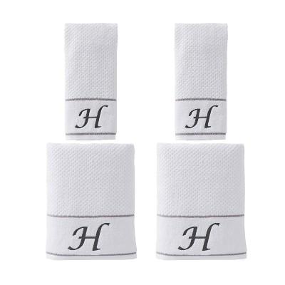 "4pc ""H"" Monogram Bath/Hand Towel Set White - SKL Home"