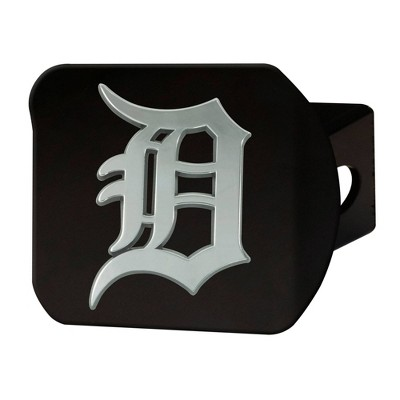 MLB Detroit Tigers Chrome Metal Hitch Cover - Black