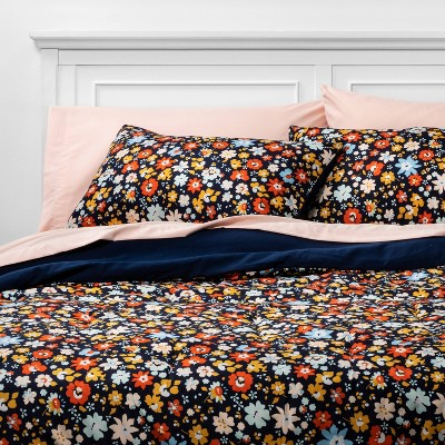 Room Essentials™ Navy Floral  with Blush Sheets  Printed Microfibe Bed Set w/ Sheets