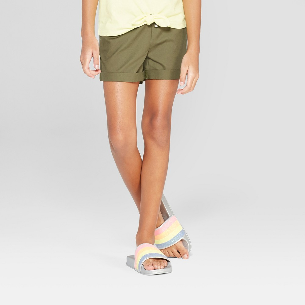 Plus Size Girls' Woven Shorts with Rolled Hem - Cat & Jack Olive XL Plus, Green
