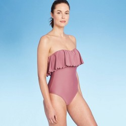 Women's Scalloped Flounce Medium Coverage One Piece Swimsuit - Kona Sol™ Mulberry