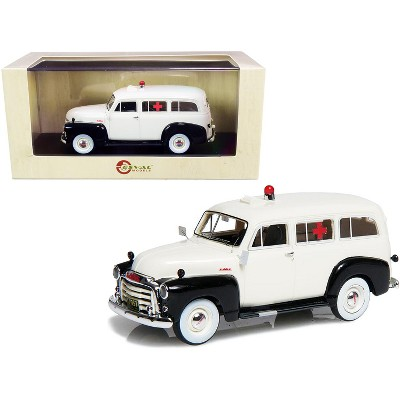 1952 GMC 3100 Suburban Ambulance Black and White Limited Edition to 250 pieces Worldwide 1/43 Model Car by Esval Models