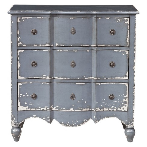 Traditional Heavily Distressed Hand Painted Light Blue Three Drawer Accent Storage Chest Ski