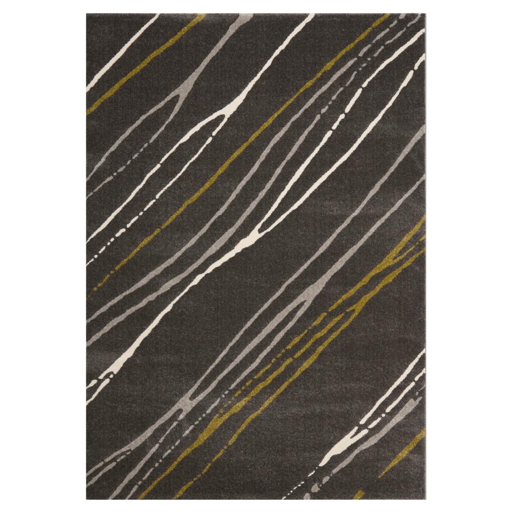 53x77 Stripe Area Rug Dark Gray - Safavieh Top