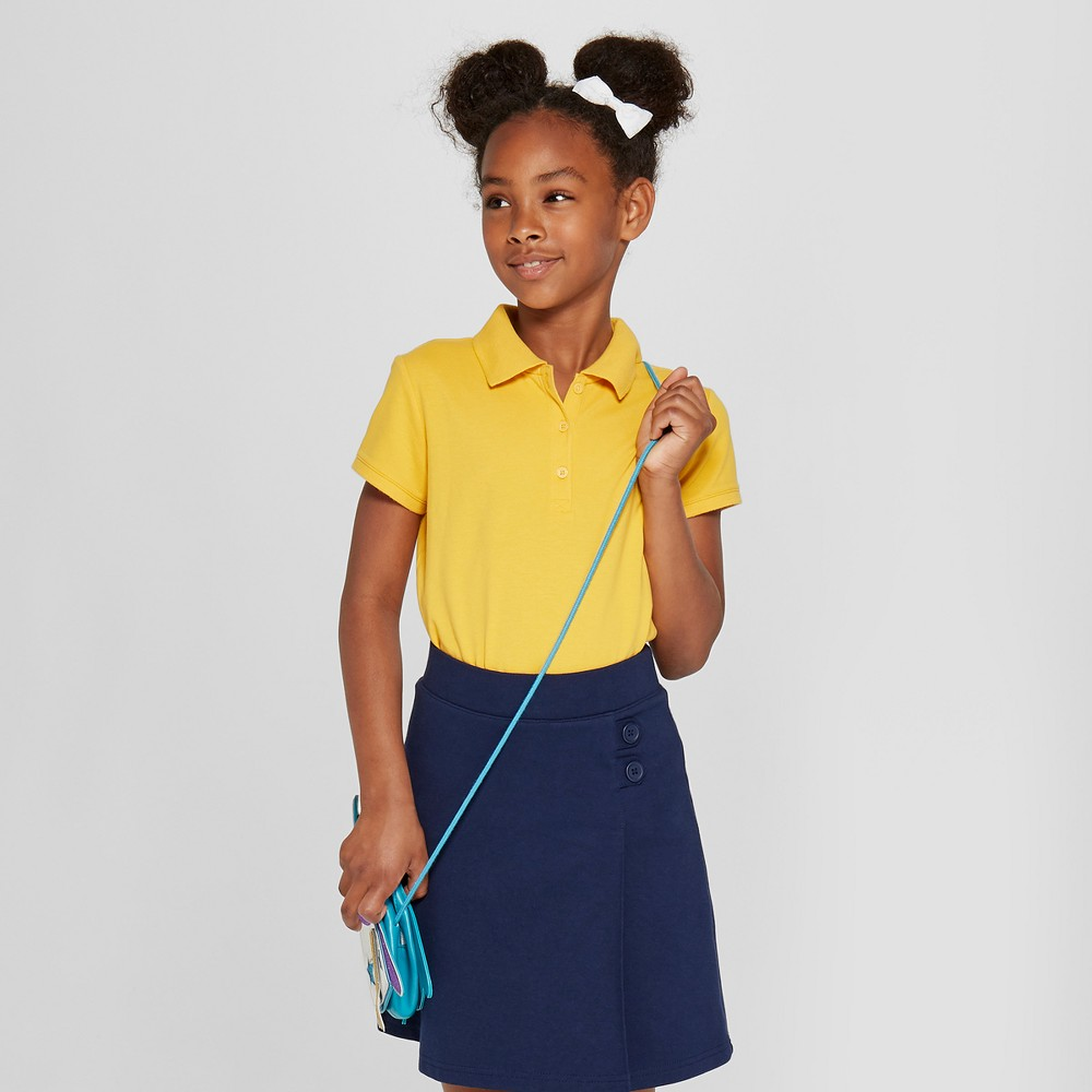 Girls' Short Sleeve Pique Polo Shirt - Cat & Jack Gold S