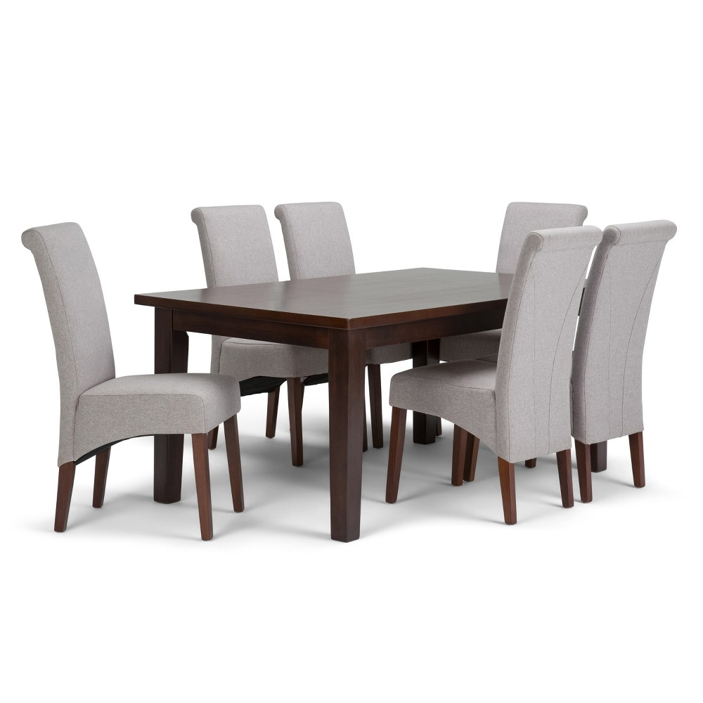 FranklSolid Hardwood 7pc Dining Set Cloud Gray - Wyndenhall, Cloudy Gray