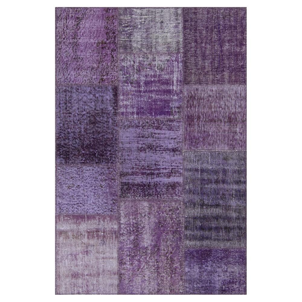 """Image of """"Antique Patchwork Accent Rug Purple 3'11""""""""x5'11"""""""", Pale Purple"""""""